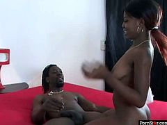 Ebony bitch Miss Simone likes the size of his cock and jerks it off intensively. She is eager for cum delicacy and does her best. Watch eager blowjob right now.