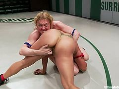 Check out Darling and Izamar, two hot lesbians that give their best in the Ultimate Surrender arena. These whores wrestle hard and after the match ends the referee takes a decision. Darling loses and she kneels like an obedient whore to please the champion, Izamar.