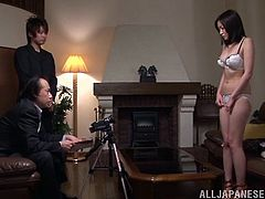 Slim Japanese girl strips her clothes off and poses naked at an interview. Later on she gives a blowjob and gets fucked by her interviewer.