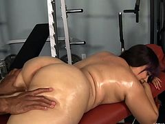 She had a hard day of working out so now her trainer gives this chubby whore a nice, relaxing massage. He oils her fat booty and big boobs and massages them firmly until she gets fucking horny and demands his cock. Looks like she wants to put back those calories by swallowing his semen, will he give her some?