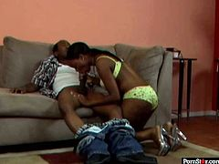 Sex insane ebony chick sucks BBC and sits on cock. She moves her big black ass fast in cowgirl position. It's looks so exciting.