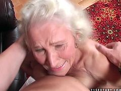 Spoiled ugly old whore wears only stockings. This bitch is just frightening, cuz her droopy tits reach almost her plump old belly. Wrinkled whore provides a strong stud with a solid blowjob and gets her old cunt eaten in return.