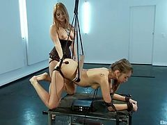 This bondage video has Riley Reid bound in a doggystyle position, perfect for Lea Lexis to penetrate her pussy with her strapon dildo.