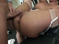 Busty blonde nurse with big bubble butt is crazy for big cock.She sits on her knees and sucks that big cock hard and deep before getting her bubble butt fucked hard and cummed on.