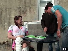 Sexy school girl is writing her homeworks when two horny guys show up. She starts sucking their long dicks and gets pounded in her twat.