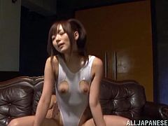 This filthy and kinky Japanese siren is going to love a big cock in her possession. He rips her swimsuit and fucks her with a vibrator and his dick as well!