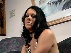 Filthy brunette MILF sits in front of cam wearing outright bikini before she finds a sheer dildo into a box with grunge. She sticks it inside her bald pussy and starts moving it back and forth in steamy sex video by Pornstar.