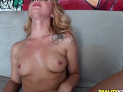 Blonde sexpot Lucy sucks her lover's dick like mad