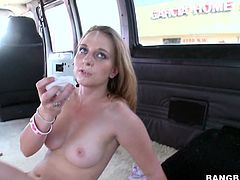 Watch this sexy blonde sucking a hard cock in the back of the bus in this hardcore video before her tight pussy's nailed by a it.