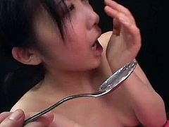 Young Japanese swallowing jizz