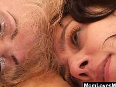 Two aged moms toying their hairy cunts