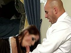 Rachel Evans plays the naughty maid, who's so horny that she makes a move on her boss. He nails her good.
