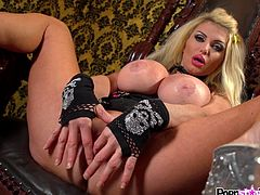 Nasty blonde with big tits shows off in wild solo masturbation porn scene