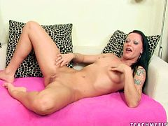 Two mesmerizing brunette hotties enjoy playing raunchy lesbian games. They put on the gloves before starting fisting each other's shaved pussies in steamy sex video by 21 Sextury.