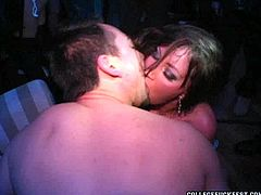 If you like sex parties then this awesome sex video is of particular interest to you. This gorgeous brunette is quite far from being shy! Cum-addicted nympho takes that throbbing erection in her mouth and sucks it greedily with unrestrained passion as if her life depends on it.