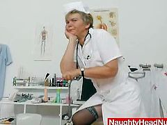While some use the specula for hole exams, Berta the stunning head caretaker uses it for masturbation and pussy tease like in the video