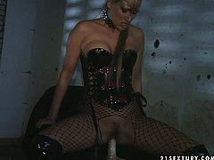 Kinky beast girl wearing sexy fishnet stockings fucks her twat and ass hole with two dildos. She likes it hotter and fucks her holes without mercy.