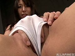 This naughty and nasty Japanese girl is going to please her pussy with pleasure! Damn, this slutty chick is so fucking crazy about rubbing herself!