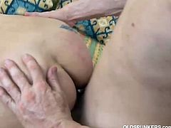 This sexy older lady enjoys a younger cock in her dripping wet pussy. He rewards her with a nice facial.
