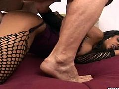 Sexy black chick Blair wearing fishnet stockings is having fun with some man indoors. She drives him crazy with a blowjob and then they have passionate multiposition sex.