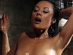 Smoking hot brunette Lei is taking a shower and pleases herself. As water pours allover her tits and pussy she rubs her snatch and then this dude steps in. He fingers her vagina, eats her ass and then shovels his cock in her mouth. She looks good knelt, wet and with cock between her lips!