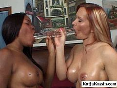 These jaw-dropping lesbians with fine asses like spending their free time together. They rub oil all over each other's bodies and then they fuck each other mouth's using a double dildo.
