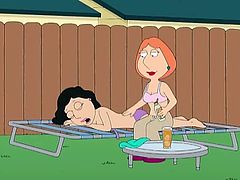 Lois is in the neighbors' backyard visiting Bonnie. She helps her put lotion on and then they start to get horny, deciding to have lesbian sex. Their husbands Joe and Peter do not know about this. Bonnie licks Lois' nipples and things get naughtier.