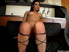 Sextractive brunette bombshell in strappy black heels makes out with two sex hungry dudes. She is forced to give a head to perky dick while riding horny man in cowgirl style in sizzling hot threesome sex orgy by Pornstar.