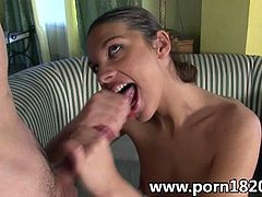 See the naughty brunette slut Stella Johanssen getting her tight ass spectacularly banged before her face gets covered in fresh cum.