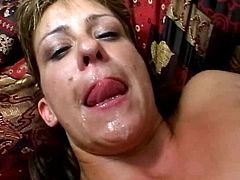 Well, this short and blond haired housewife in black stockings is surely mad about masturbation. She rubs her wet mature pussy on the couch and then begs to jizz cum all over the face.