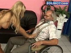 Ruined blond MILF is a sough after prostitute in the past. In charity purpose she decides to please a bald grey haired daddy on wheelbarrow. She kneels down in front of him to give him a steamy blowjob in perverse 21 Sextury sex video.