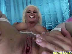Horn made grey-haired mature with a pair of firm enhanced tits gets her anus pounded hard in doggy style before she rides massive black penis reverse cowgirl in sizzling hot FFM interracial sex video by Pornstar.