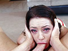 Beauty goes deep with her lips and deepthroats one large cock in hot oral action
