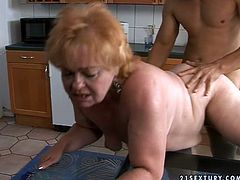 Horny granny gets the thick dick she craves. She spreads her legs wide to let her lover fuck her big pussy in missionary position and then she takes it from behind.