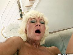This spoiled mature woman wants to get really wild with this dude's cock! She sucks it greedily to get it hard and then she takes his dick for a lond ride. A bit later he fingers her butthole fervently.
