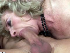 Don't pass by this steamy 21 Sextury xxx clip. Kinky booty wrinkled blond housewife is rather old, but she's still a great pro in sucking a dick. Missionary style fuck won't be the least thing to reach orgasm too.