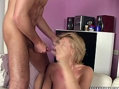 This blonde seductress is one of those girls who likes to be fucked hard. She takes full control of her lover's dick and rides it passionately like a true cowgirl. Then she gets into sideways position to let him stick his dick in her pussy. Later she takes it from behind.
