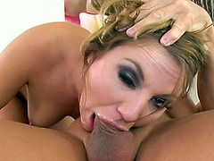Slutty gal goes deep during oral session and gives a great deepthroat show