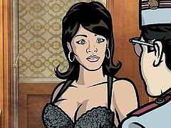 Sterling Archer and Lana Kane are two super spies who have very intense sexual chemistry. Cyril has come to make up with his ex Lana, but when he opens the door he sees Lana and Archer have been fucking. The sexy black babe is wearing black lingerie and she sucks Archer's stiff cock until it's wet.