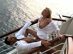 The voyage of perversions take place with Donna Bell. She seduces the captain of the ship and gets his huge cock in her possession.