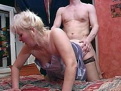 Blonde milf and young lover