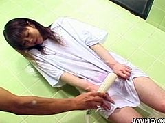 Sex greedy nurse man abuses a slender Japanese chic in nut hospital. He forces her bend down before he starts drilling her pussy through clothes from behind.