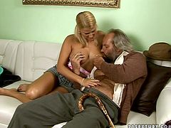 Playful blonde girl with ponytails is taking care of old fart. She wanna experience sex with old man so she seduces him for sex. She starts sucking his dick like tasty lollicock.