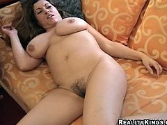 A dirty fucking brunette slut with big fucking tits gets her fucking shaved pussy stuffed with hard fucking cock! Check it out right here!