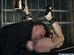 This chick must have done something very bad and she needs to be punished. She is completely at the mercy of her master. Horny dude licks his slave's snatch passionately making her moan with pleasure. Then she returns the favor with a blowjob. Make sure you don't miss this BDSM video!