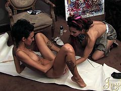 Nasty gals are stimulating their wet vags with impressive oral lesbian session