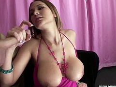 Super busty babe Alanah Rae gives hand job