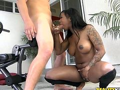 Stunning Black girl does some exercises in the gym. Then she white fitness instructor licks her vagina and oils the ass up. This slutty bitch gives a blowjob to the guy and rides his dick savagely.