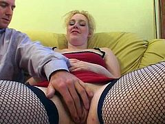 Sex-starved blondie is a super qualified slut! She gives her lover one hell of a blowjob and then she makes him lick her pussy.