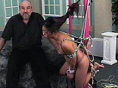 Slutty asian babe gets nailed and dominated by old guy in BDSM porn scene
